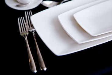 white-rectangle-crockery-to-hire
